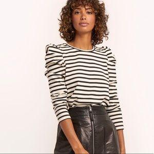 Rebecca Minkoff Talia top black and white stripe
